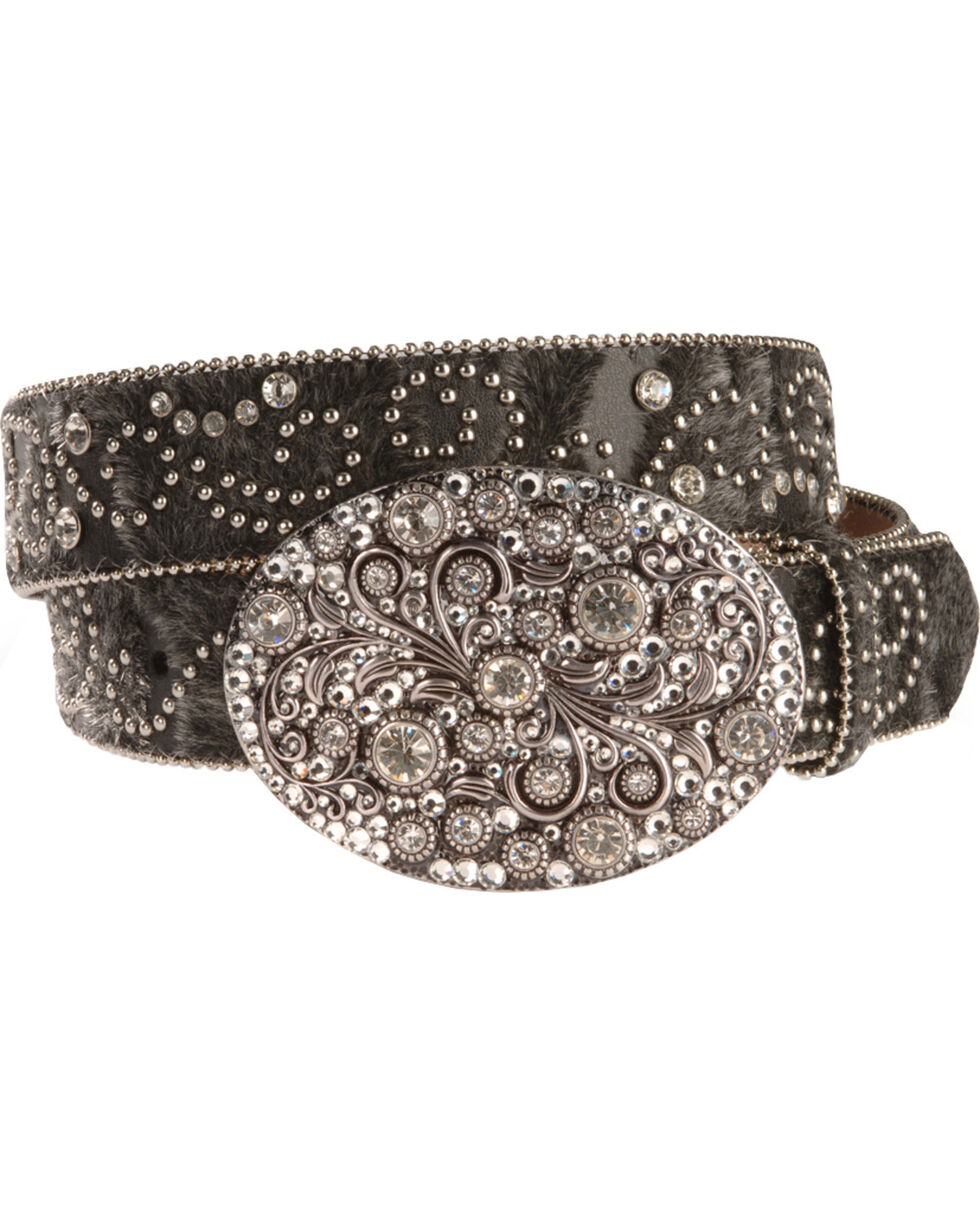 Nocona Belt Co Women's Stud and Rhinestone Belt, Black, hi-res
