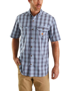 Carhartt Men's Blue Rugged Flex Rigby Plaid Short Sleeve Work Shirt - Big , Blue, hi-res