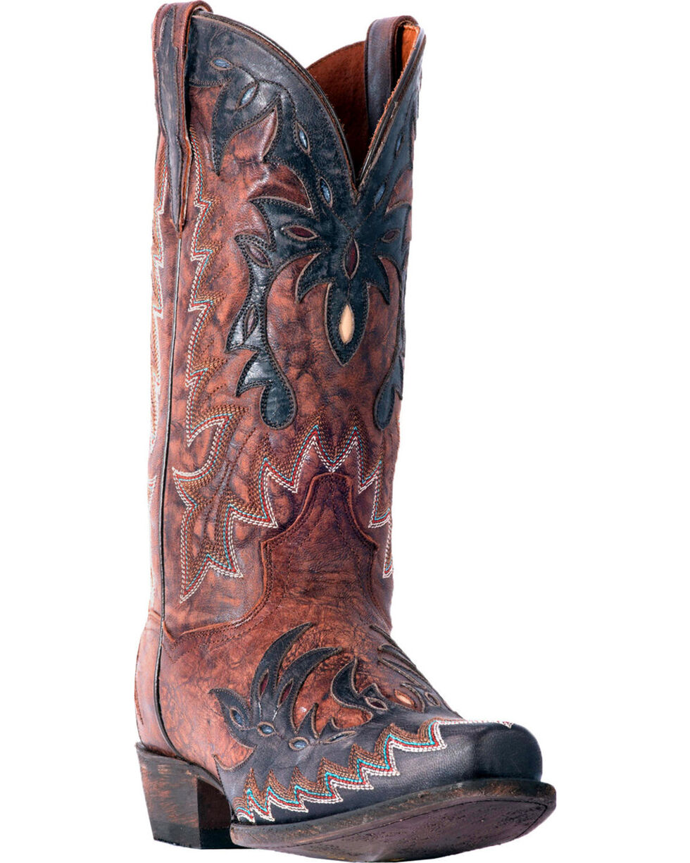 Dan Post Men's Chocolate Rocket Inlay Boots - Snip Toe , Chocolate, hi-res