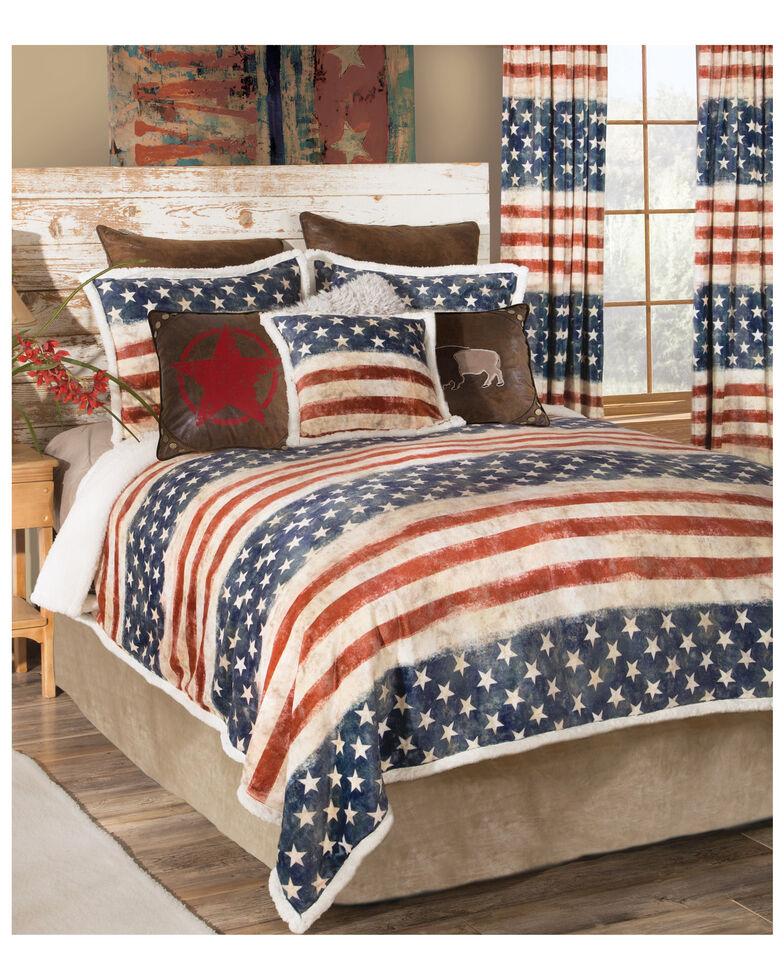 Carstens Home Wrangler Stars & Stripes USA 3- Piece American Flag Sherpa Bedding Set - Twin Size, Blue, hi-res