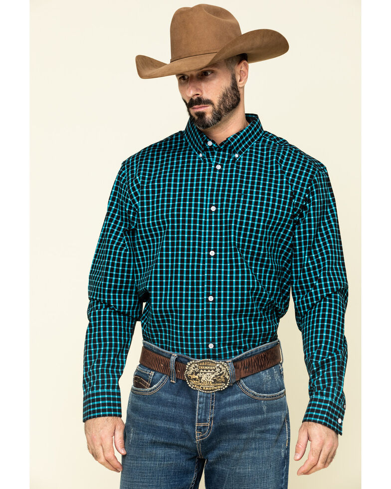 Cody James Core Men's Outlaw Territory Check Plaid Long Sleeve Western Shirt - Big , Black, hi-res
