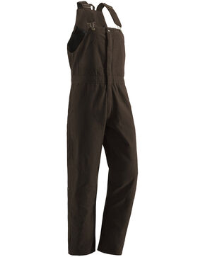 Berne Ladies Washed Insulated Bib Overalls - 3X-4X-Short, Dark Brown, hi-res