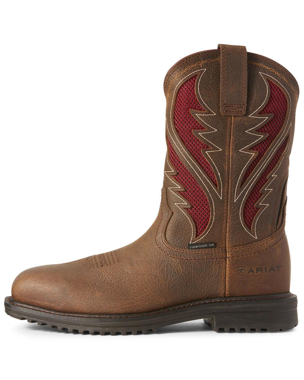 Ariat Men's Rigtek VentTEK Rye Western Work Boots - Composite Toe, Brown, hi-res
