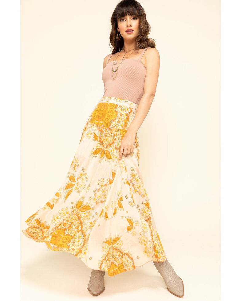 Free People Women's Farrah Drop Waist Skirt , Yellow, hi-res