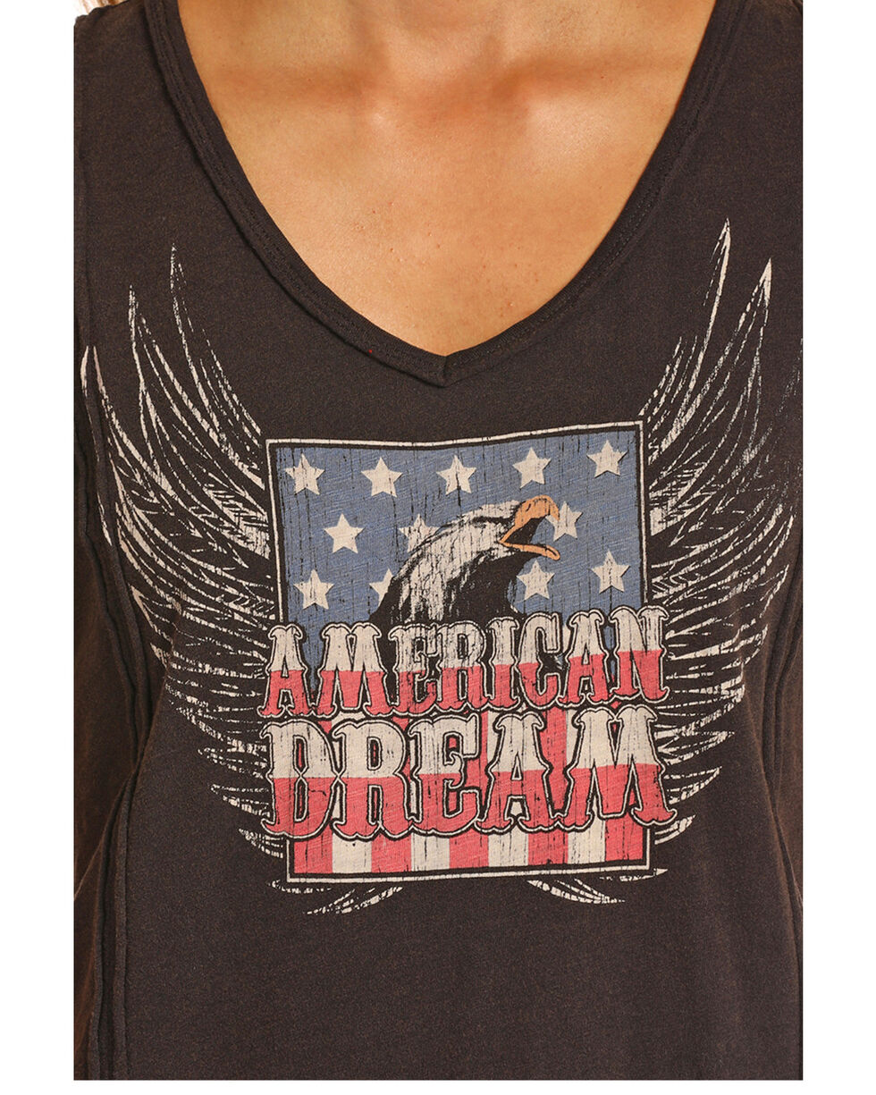 Rock and Roll Cowgirl American Dream Eagle Knit Shirt , Black, hi-res