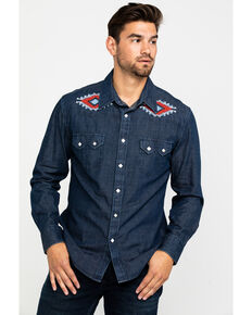 Rock & Roll Cowboy Men's Solid Aztec Accent Long Sleeve Western Shirt , Navy, hi-res