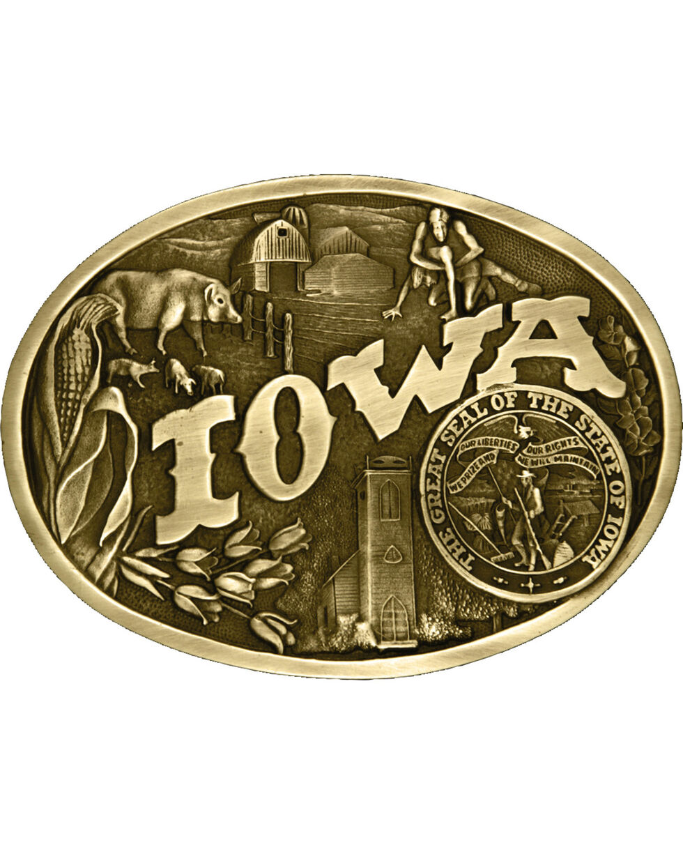 Montana Silversmiths Iowa State Heritage Buckle, Gold, hi-res