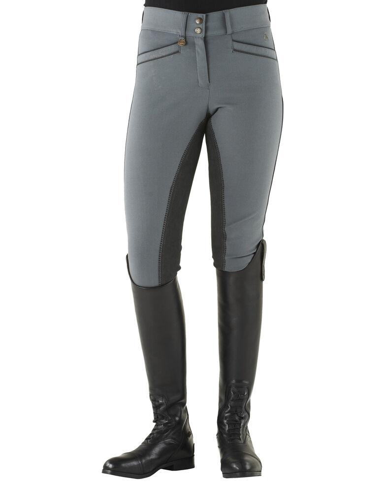 Ovation Women's Celebrity Slim Secret Full Seat Euroweave DX Breeches, Grey, hi-res