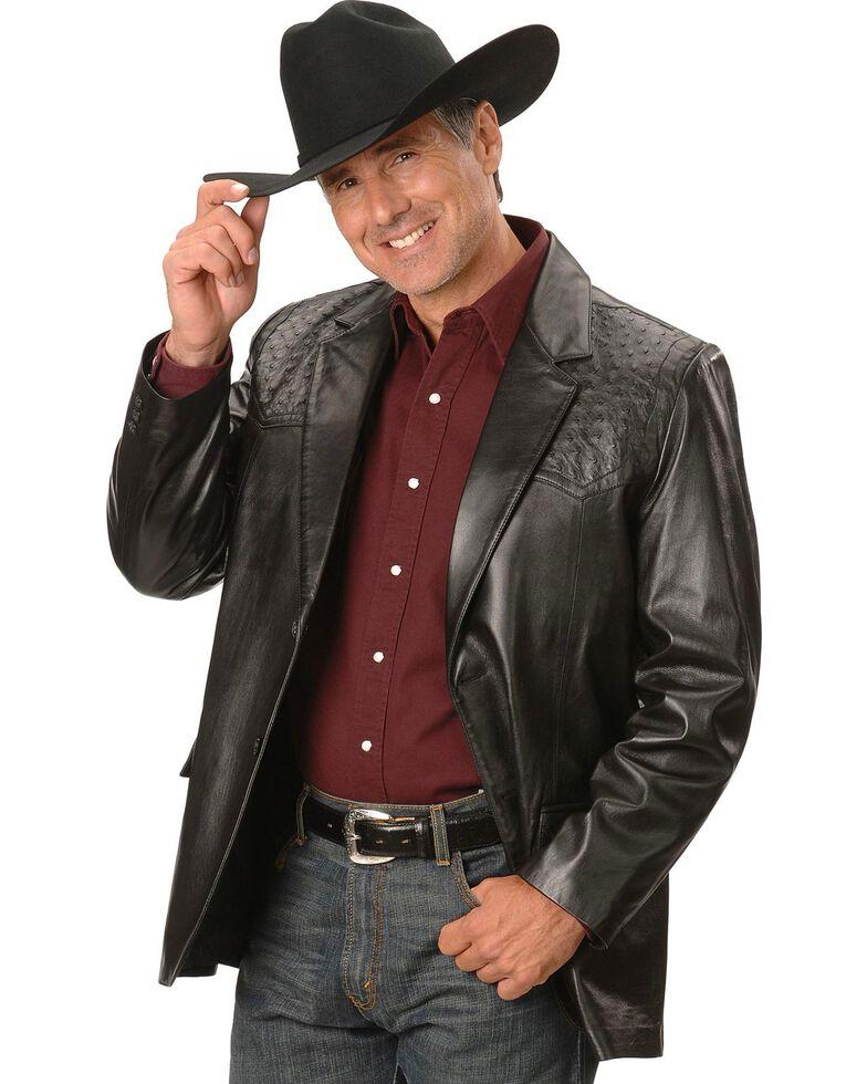 Scully Men's Ostrich Trim Leather Blazer, Black, hi-res