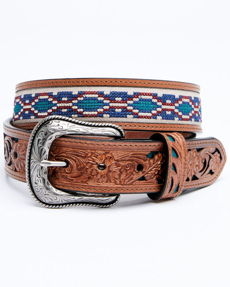 Cody James Men's Multi Color Cross Stich Western Belt, Chocolate, hi-res