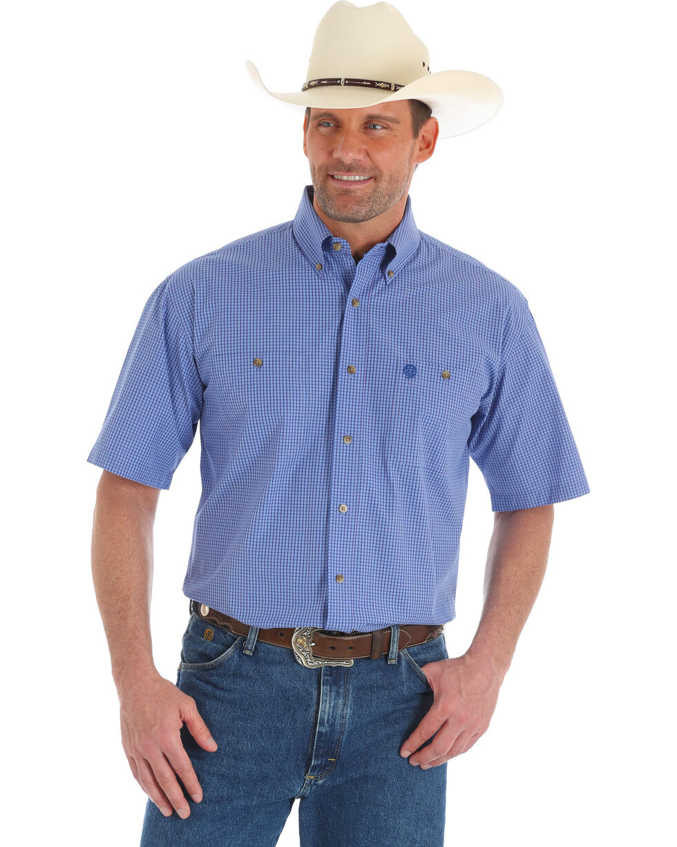 George Strait by Wrangler Men's Blue Check Short Sleeve Western Shirt, Blue, hi-res