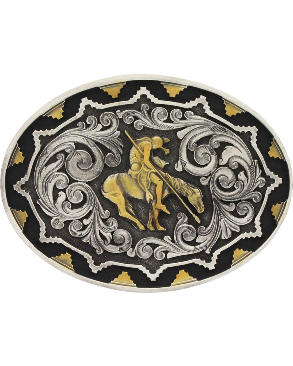 Montana Silversmiths Two-Tone Southwest Classic Impressions End of the Trail Attitude Belt Buckle, Multi, hi-res