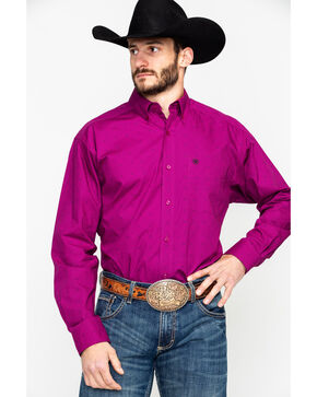 Ariat Men's Fedderson Geo Print Long Sleeve Western Shirt , Wine, hi-res