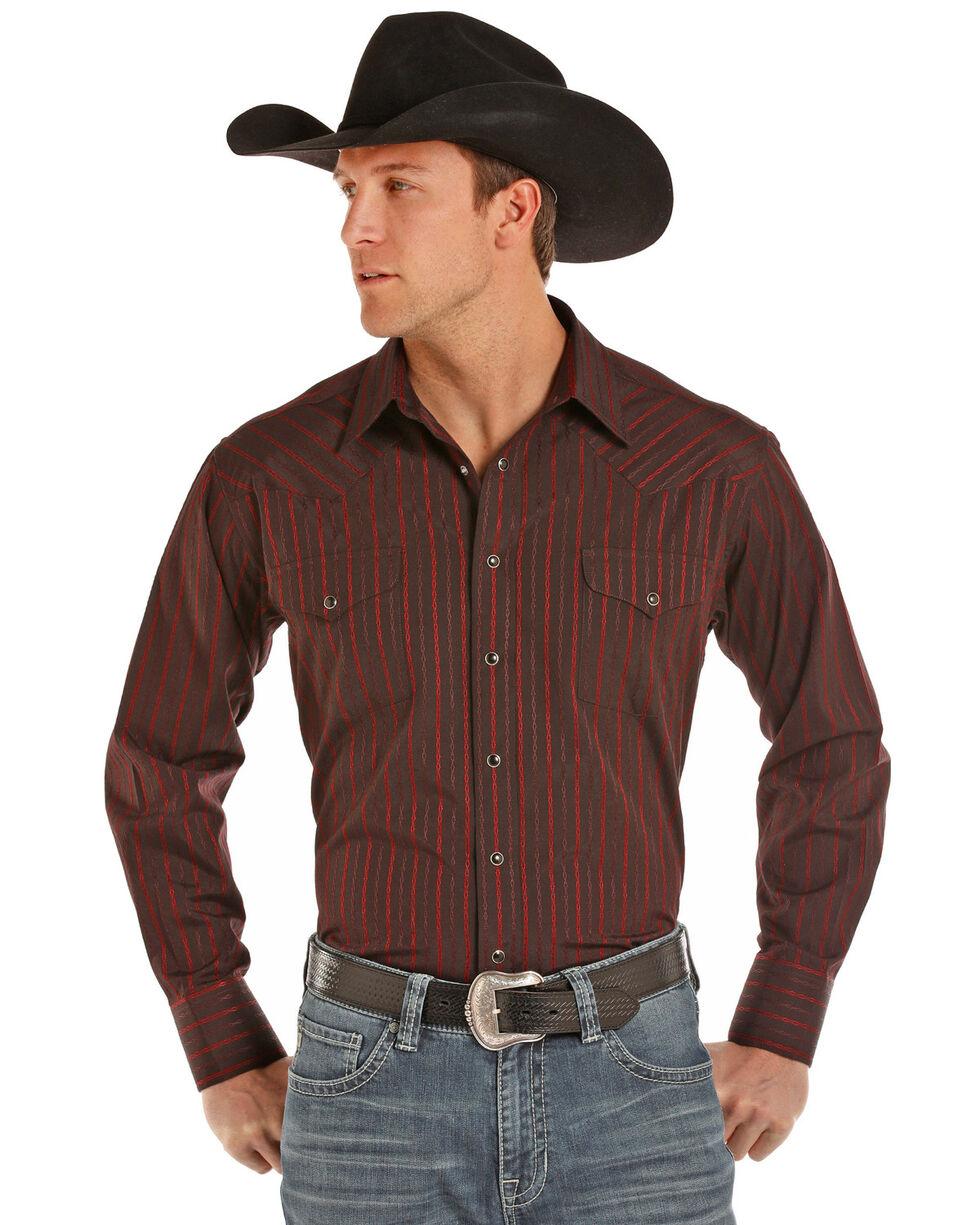 Panhandle Men's Satin Dobby Stripe Long Sleeve Western Shirt, Burgundy, hi-res