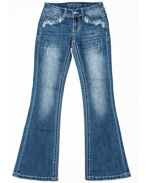 Grace in LA Girls' Horseshoe Pocket Bootcut Jeans , Blue, hi-res