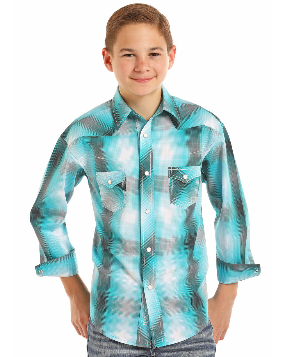 Rock & Roll Cowboy Boys' Yarn Dye Plaid Long Sleeve Western Shirt , Turquoise, hi-res