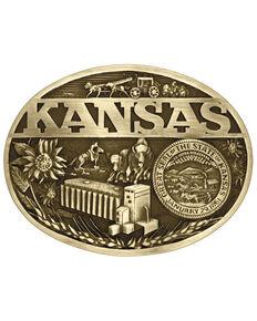 Montana Silversmiths Kansas Heritage State Buckle, Gold, hi-res