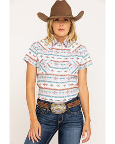 Rough Stock by Panhandle Women's White Serape Stripe Snap Short Sleeve Western Shirt, White, hi-res