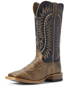 Ariat Men's Elite Turnback Western Boots - Wide Square Toe, Brown, hi-res