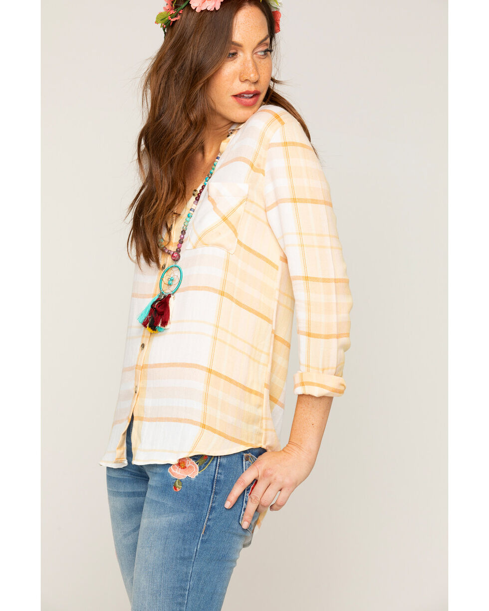 Shyanne Women's Yellow Striped Plaid Long Sleeve Shirt, Yellow, hi-res