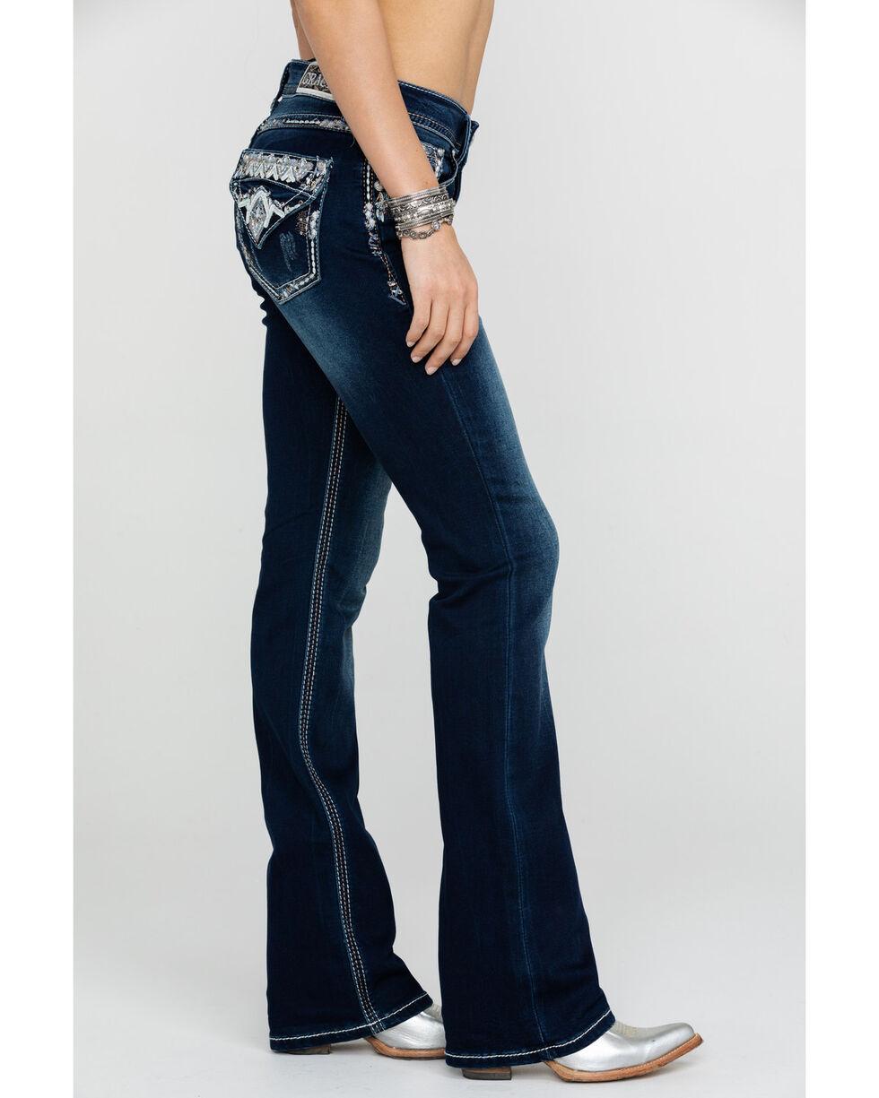 Grace In LA Women's Embellished Easy Boot Cut Jeans, Blue, hi-res