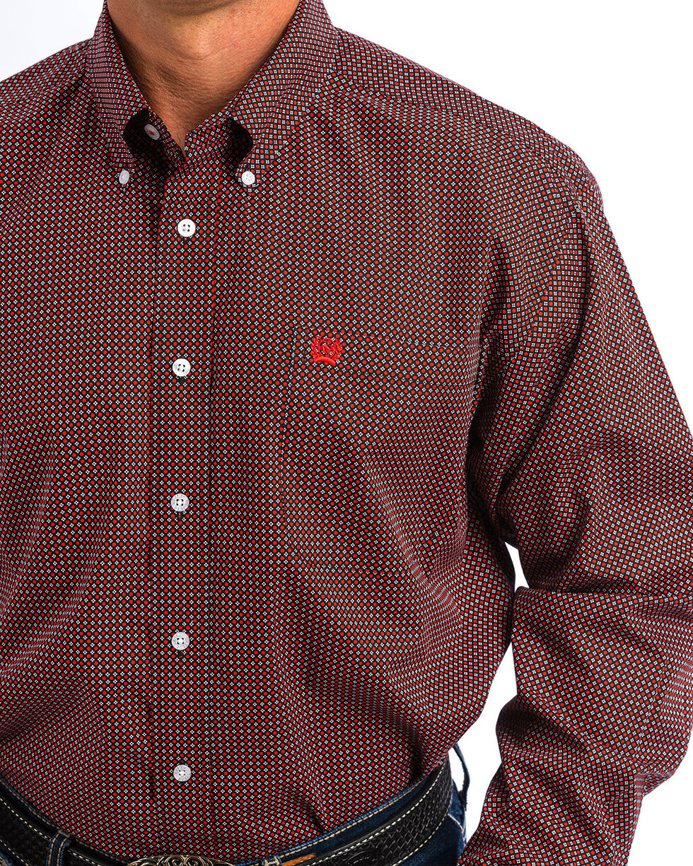 Cinch Men's Black & Red Dot Print Western Shirt , Black, hi-res