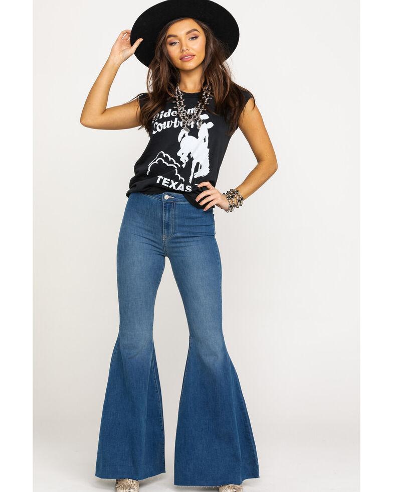 Free People Women's Dark Just Float on Flare Jeans, Dark Blue, hi-res