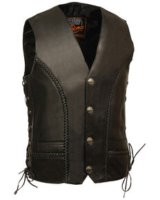Milwaukee Leather Men's Buffalo Snap Braided Side Lace Vest, Black, hi-res