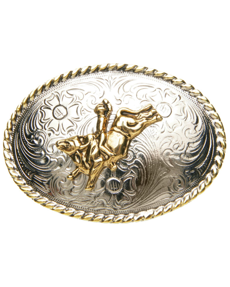 AndWest Boys' Bull Rider & Rope Buckle, Gold, hi-res