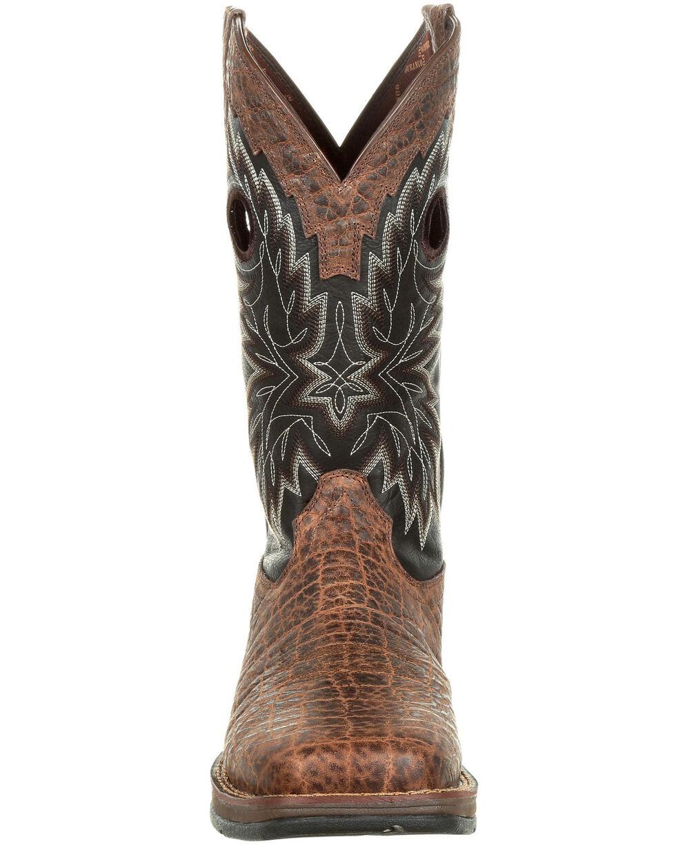 Durango Men's Rebel Faux Elephant Grain Western Boots - Square Toe, Chocolate, hi-res
