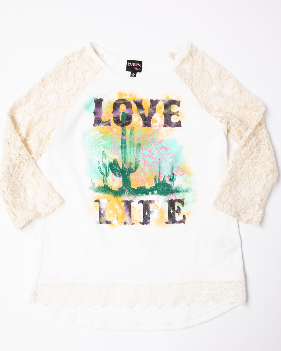 Ransom Girls' Love Life Graphic Lace Sleeve Raglan Tee , Oatmeal, hi-res