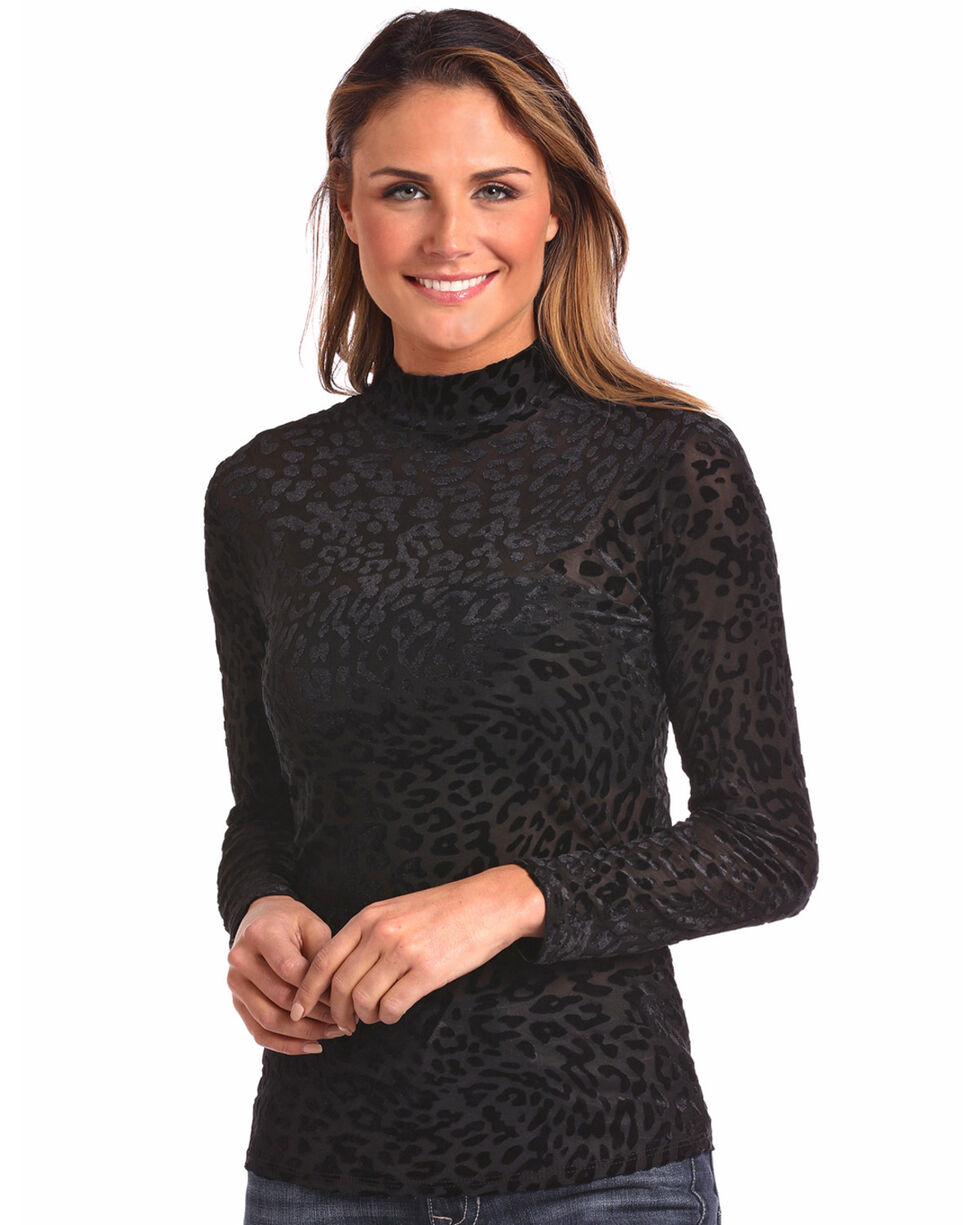 Panhandle Women's Mock Turtleneck Long Sleeve Shirt, Black, hi-res