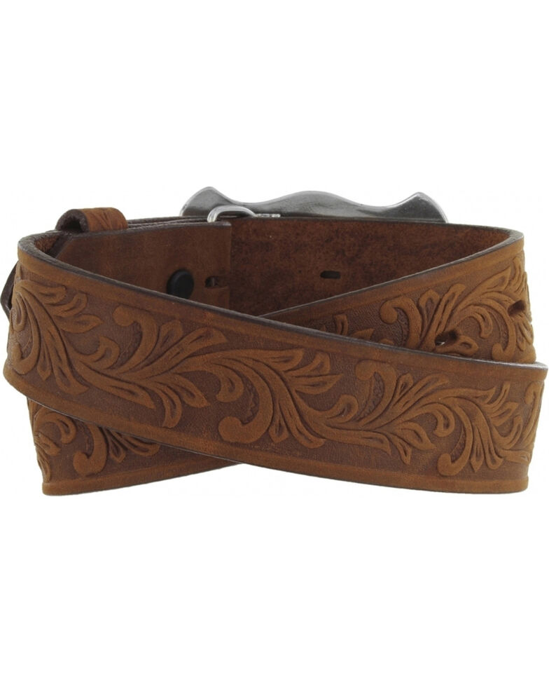 Tony Lama Kid's Leather Floral and Long Horn Belt, Brown, hi-res