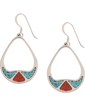 Silver Legends Turquoise & Coral Earrings, Turquoise, hi-res