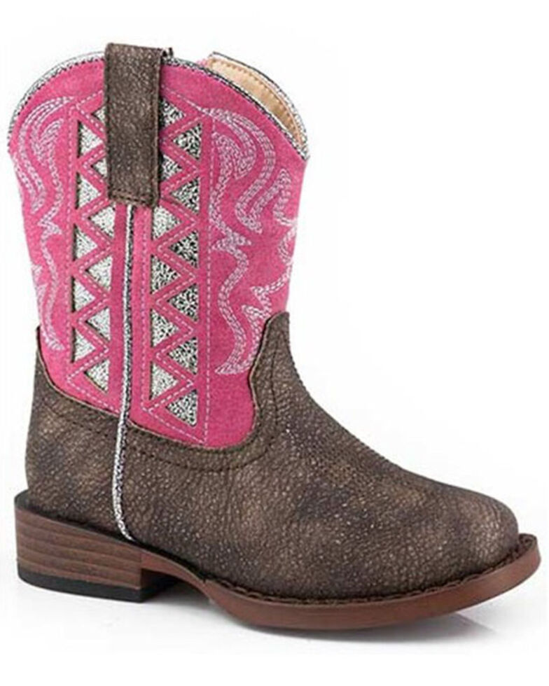 Roper Toddler Girls' Askook Western Boots - Square Toe, Brown, hi-res