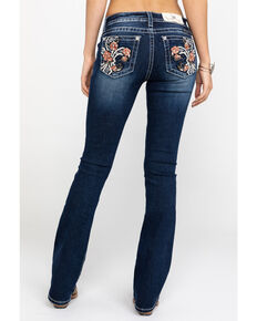 "Miss Me Women's Floral Fleur Dark Wash Bootcut 34"" Jeans, Blue, hi-res"