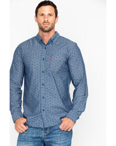 Levis Men's Brogan Chambrey Print Long Sleeve Western Shirt , Navy, hi-res