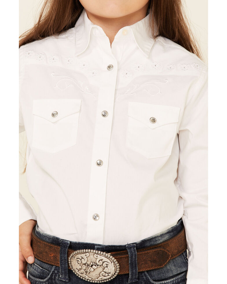 Wrangler Kid's Embroidered Long Sleeve Western Shirt, White, hi-res