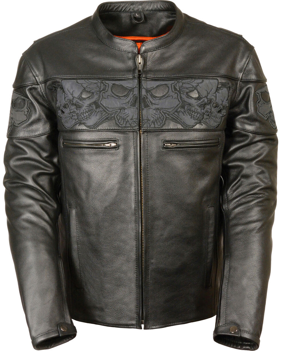 Milwaukee Leather Men's Reflective Skull Crossover Scooter Jacket - 5X, Black, hi-res