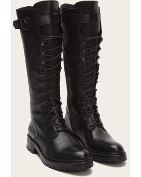 Frye Women's Julie Lace Tall Boots - Medium Toe , Black, hi-res