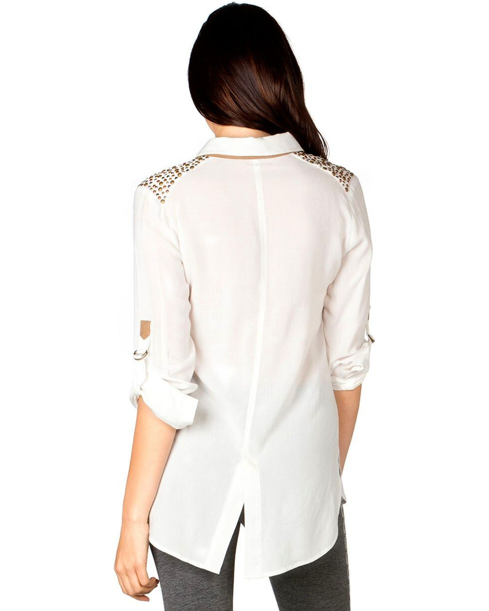 Miss Me Women's Studded Long Sleeve Shirt, Off White, hi-res