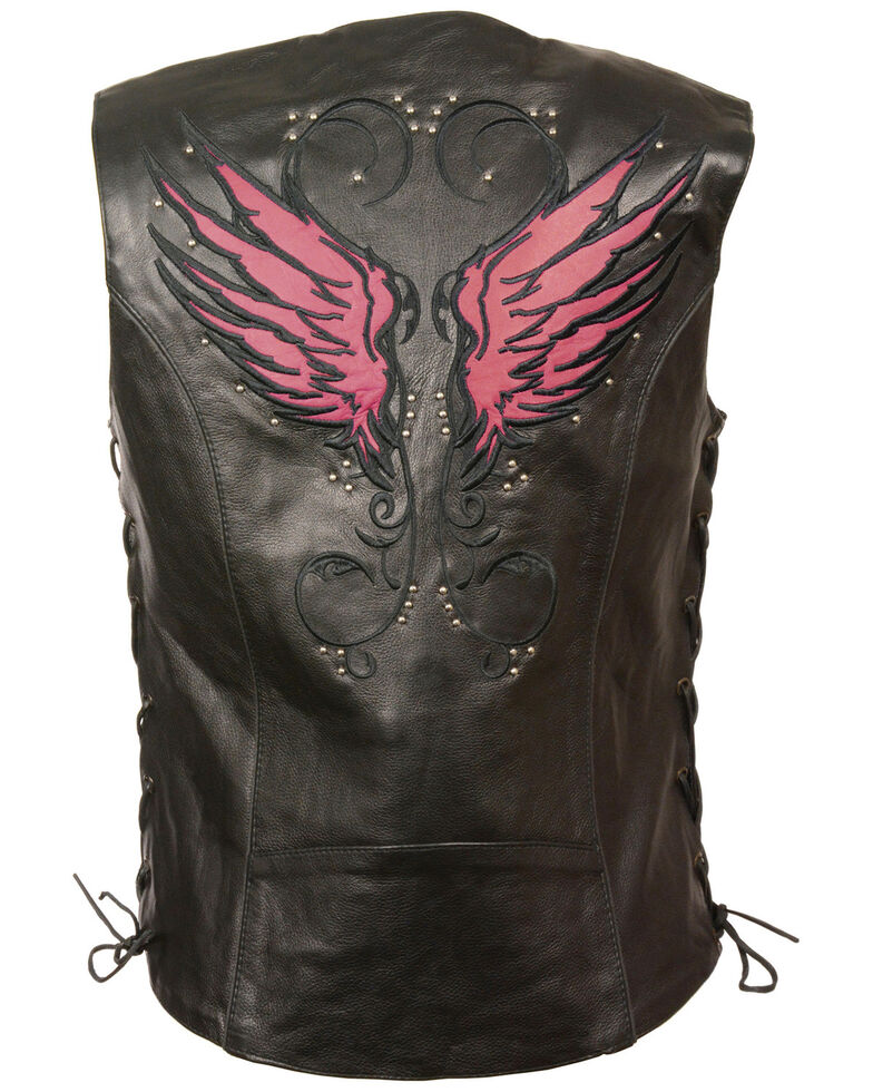 Milwaukee Leather Women's Stud & Wings Leather Vest, Pink/black, hi-res