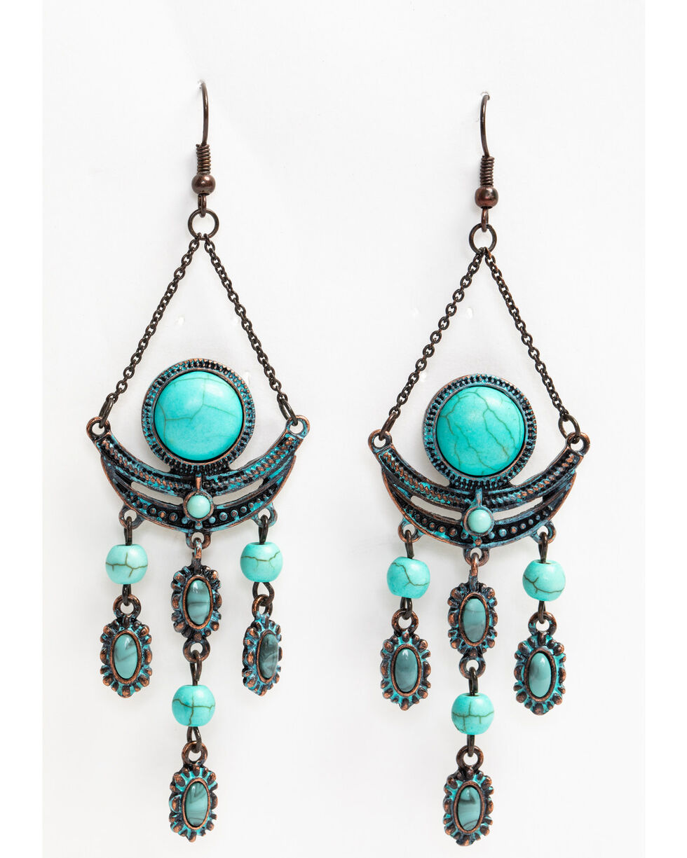 Shyanne Women's Patina Crescent Turquoise Saddle Chandelier Earrings, Turquoise, hi-res