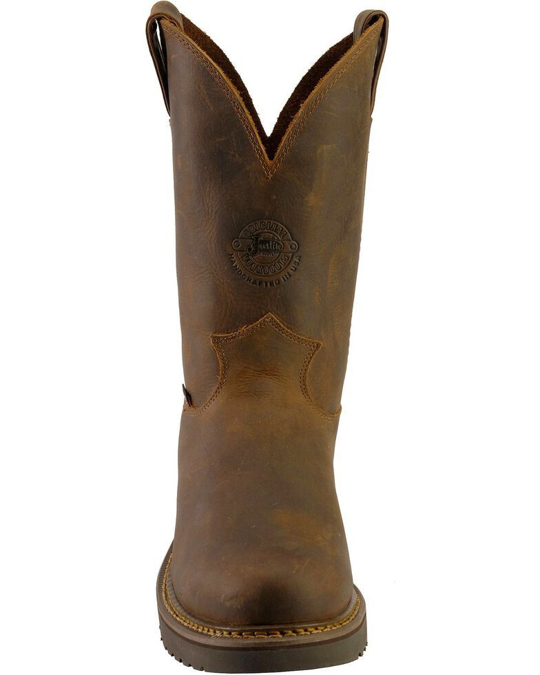 """Justin Men's 11"""" Rugged Western Work Boots, Chocolate, hi-res"""