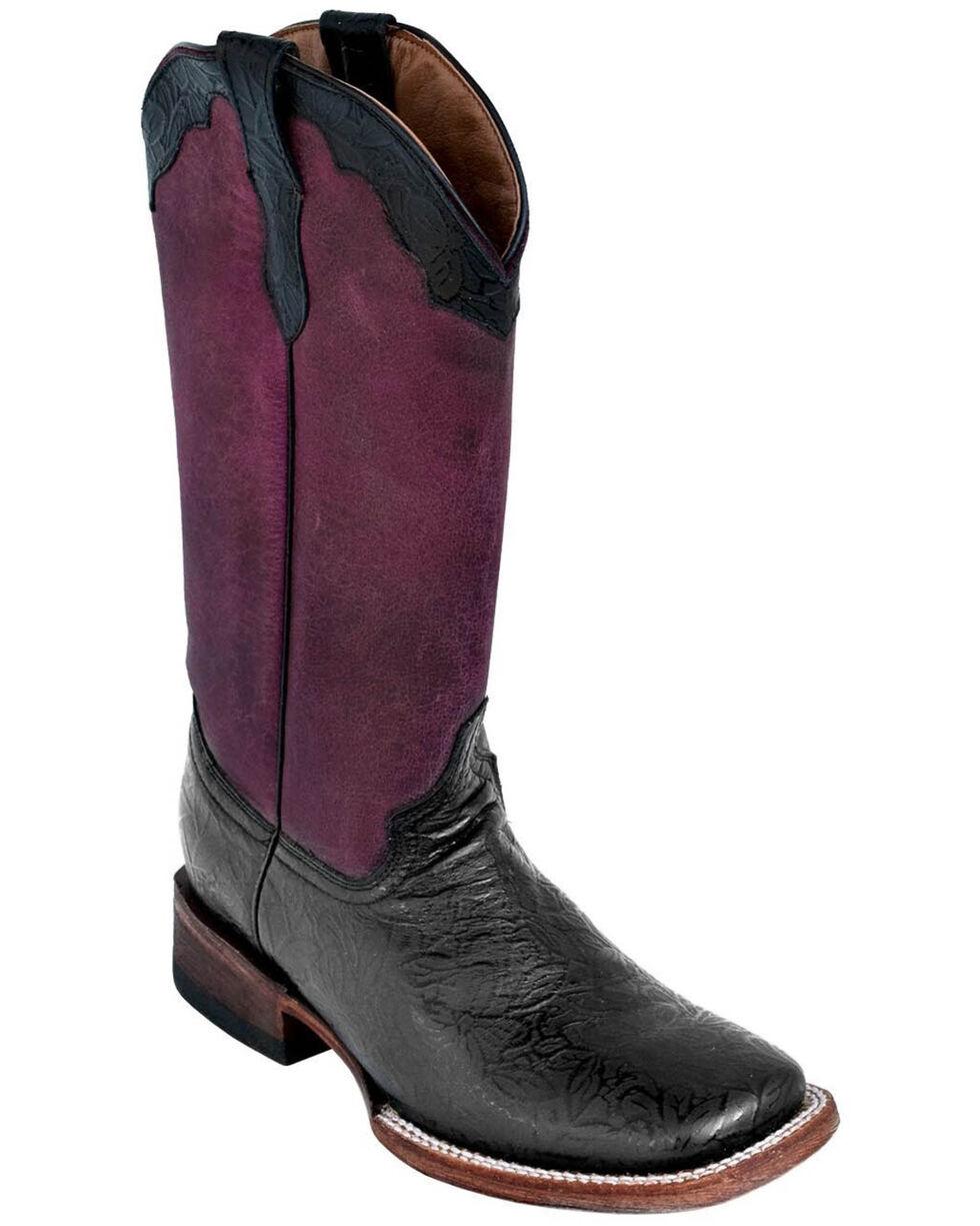 Ferrini Women's Black Embossed Western Boots - Square Toe, Black, hi-res