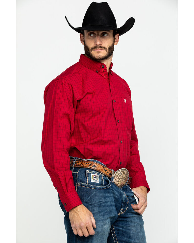 Ariat Men's Tailgate Plaid Long Sleeve Western Shirt - Big , Red, hi-res