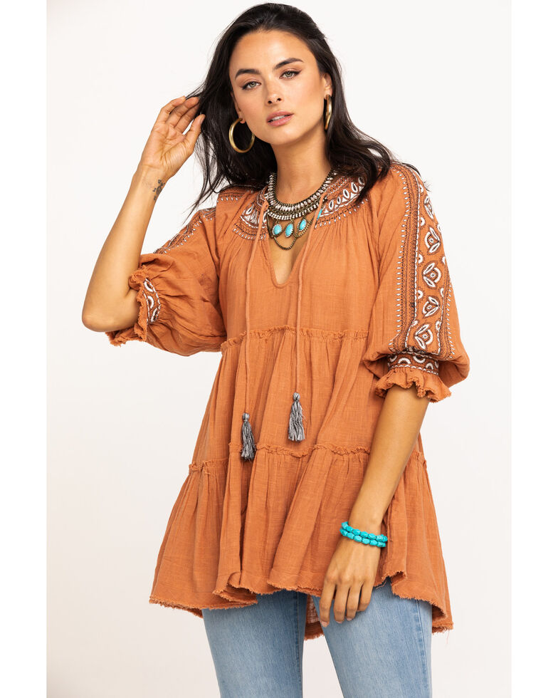Free People Women's Rust Dreamweaver Embroidered Tunic, Rust Copper, hi-res
