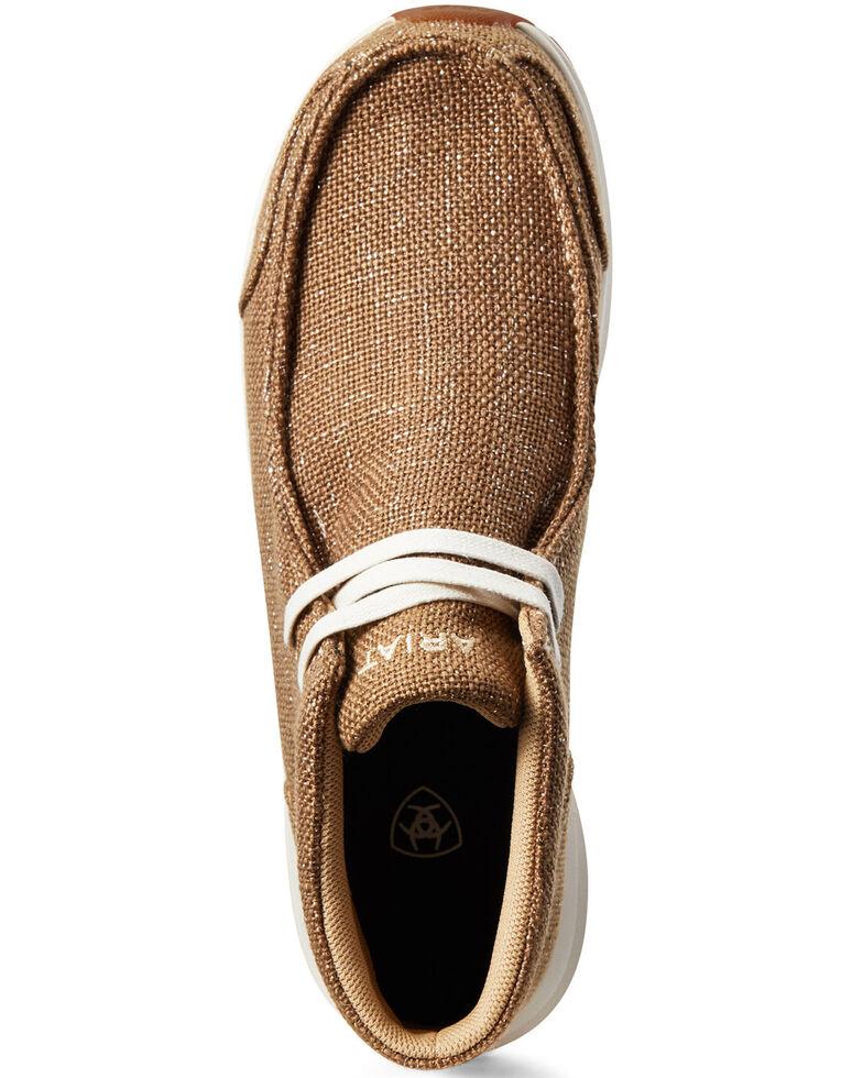 Ariat Women's Spitfire Metallic Burlap Shoes - Moc Toe, Beige/khaki, hi-res