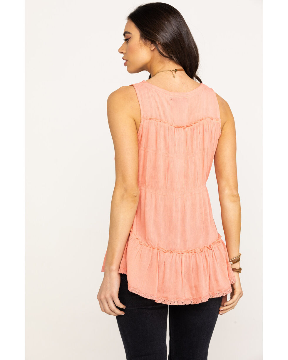 Rock & Roll Cowgirl Women's Coral Tiered Peasant Tank Top, Coral, hi-res