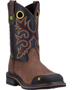 "John Deere Men's Leather 11"" Pull On Work Boots - Steel Toe , Brown, hi-res"